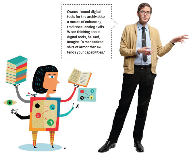An image of me gesturing into space with a cartoon mecha archivist from the Radcliffe alumni magazine.
