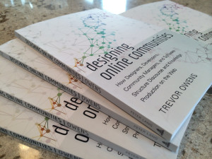 A stack of the author copies I received after my book, Designing Online Communities, was published.