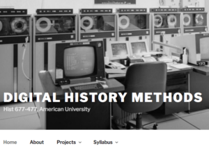 Screen shot of digital history methods course site